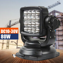 80w Magnet Base Led Remote Control Search Light Spot 360anddeg Truck Boat Marine Car