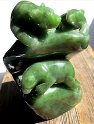 6.5 Jade Bear Family Sculpture - Solid Genuine Canadian Nephrite One Of A Kind