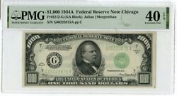 1934-a 1000 One Thousand Dollars Federal Reserve Note Chicago Pmg 40 Epq Jm190
