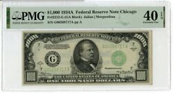 1934-a 1000 One Thousand Dollars Federal Reserve Note Chicago Pmg 40 Epq Jm191