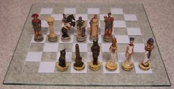 Chess Set Game With Glass Board Dawn Of History Egypt Vs Rome 3 1/2 Kings New