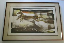 Vintage Large Finest Ron Riddick Etching Wildlife Modernism Nature Abstract Rare