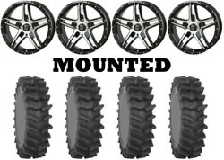Kit 4 System 3 Xm310r Tires 35x9-20 On Frontline 505 Machined Wheels Hp1k