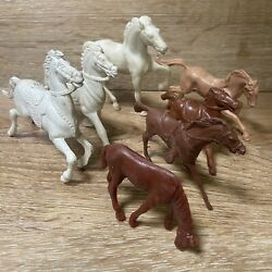 Lot of 7 Vintage Horses Brown White