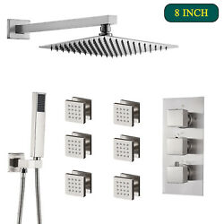 Thermostatic 8 Inch Shower Faucet Set Rainfall Sprayer Combo Massage Jets System