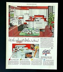 1946 Mid Century Gas Kitchen Advertisement MCM Red and White Room Vtg Print AD