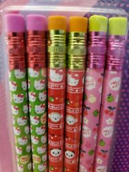 2010 Hello Kitty Pencils Pink Green Red 6 Count Pack Sealed Free Ship Sanrio