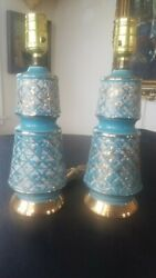 Pair Table Boudoir Lamps Turquoise Gold Mid Century