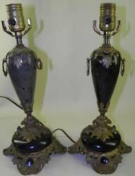 Antique Victorian Pair Ornate Bronze Marble Urn Lamps