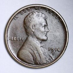 1914-d Lincoln Wheat Cent Penny Choice Vf Free Shipping E135 Wcnt