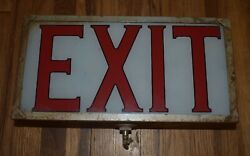 Vintage Lighted Industrial Glass Faced Metal Case Exit Advertising Sign