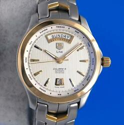 Menand039s Tag Heuer Link Calibre 5 18k Gold And Ss Watch - Day / Date - Wjf2050