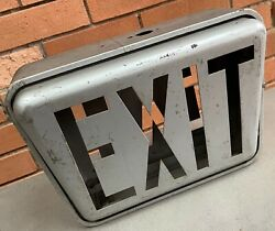 Vintage Silver Metal Double Sided Exit Sign Modern Industrial Deco