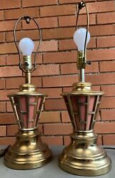 Pair Vintage 50s 60s Brass Coral Table Lamps Mid Century Modern Retro Lighting