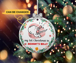 Personalized My First Christmas In Mommyand039s Belly Baby 1st Xmas Ornament Decor