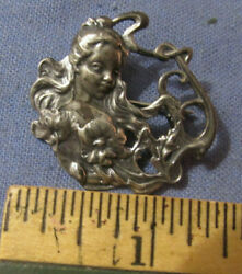 Vintage Art Nouveau Sterling Silver Lady And Flowers Brooch Pin