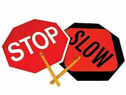 NMC One Double Sided Stop Slow Sign Safe T Paddle Lightweight Durable Hardboa...