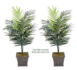 Two 4and039 Dwarf Areca Palm Artificial Trees Silk Plant 611