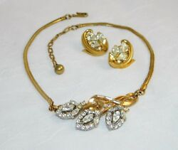 Vintage Trifari Set Earrings Necklace 3 Pc 1950and039s Costume Jewelry Signed