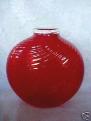Collectible Paul Cunningham Red Hand Blown Glass Vase - Signed - Rough Pontil