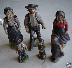 Rare Antique Cast Iron Amish Family Figures Of Six Look