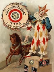 1900 Arm And Hammer Vintage Style Clown Circus Poster - 24x32