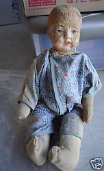 Odd Antique Composition Hay Boy Clown Character Doll