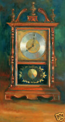Antique Mantle Wooden Clock 48 x24 in. Oil on canvas  Hall Groat II