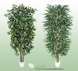 2 Potted 7and039 Real Wood Artificial Trees Ficus + Wp Ficus Dandeacutecor