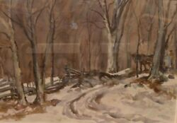 Henry Simpkins Large Watercolor Painting Sugar Trees Horse Noted Canadian - Sale