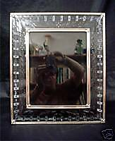 Unique Cut And Engraved Glass Picture Frame Silver Rim C. 1900 Size 12 X 14