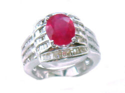 4.27ct Ruby And Diamond Ring In 14k White Gold