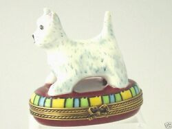 Chamart Limoges West Highland White Terrier Westie Dog Trinket Box