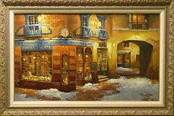Viktor Shvaiko Light On The Snow Hand Signed Serigraph On Canvas, Europe L@@k