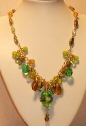 Springtime Green And Gold Crystal And Glass Necklace