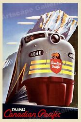 1950s Canada By Train Vintage Style Candian Pacific Travel Poster - 20x30