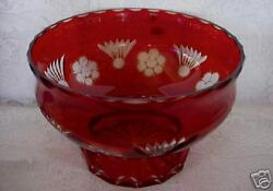 Ruby Red Crystal Hand Cut-to-clear Blown Glass Footed Bowl - Made In The Ussr
