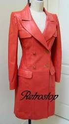 Chic Coral Red Lambskin Trench Coat