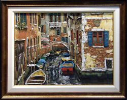 Viktor Shvaiko Boats Of Venice Framed Art Signed On Canvas Submit An Offer