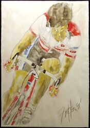 Nelson, Original Watercolor Bike Rider Bicycle Racer Art, Submit Best Offer