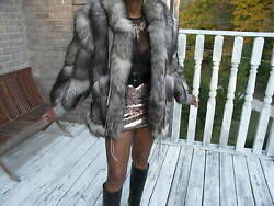 Unique Designer Gray fox tails Fur coat jacket S