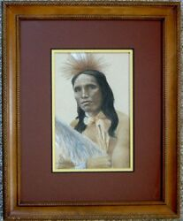 Framed Original Pastel Drawing Sioux Indian Warrior Porter Family Native America