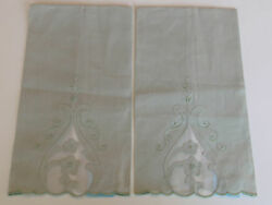 Vintage Hand Embroidered Green Linen Tea Towels Madeira Portugal Mwt Set 2 Pair