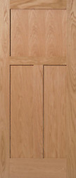 3 Panel Flat Mission Shaker Red Oak Solid Core Stain Grade Interior Wood Doors