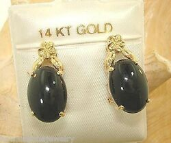 Solid 14k Yellow Gold Hawaiian Plumeria Natural Black Coral French Clip Earrings