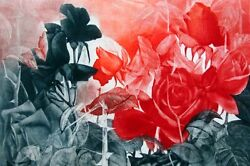 G H Rothe Burning Roses 1988 Hand Signed Art Etching Flower Limited Edition L@@k