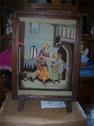 Small Oak Carved Fireplace Screen With Needlepoint