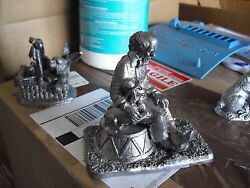 Unique Heavy M.a. Ricker Pewter Clown With Dog Figurine
