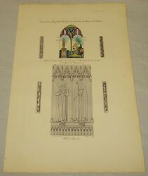 1839 Antique Color Print/chapel Stained Glass Window/history Of Art