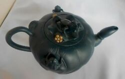 Fine Chinese Signed Zisha 2 Color Teapot Frogs Hand Made Deep Blue Circa 1930
